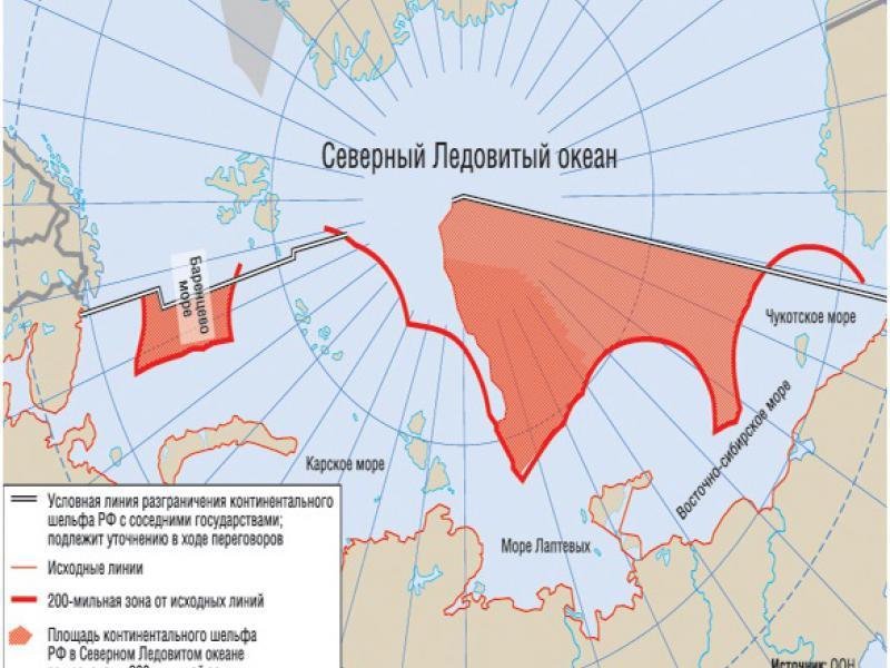 Континентальный шельф РФ на карте