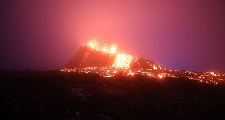 Вулкан извергается лава