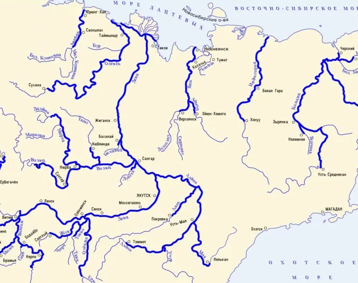 Река Яна на карте России